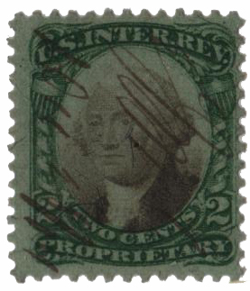 1871-74 2c Proprietary Stamp - George Washington, green & black, violet paper