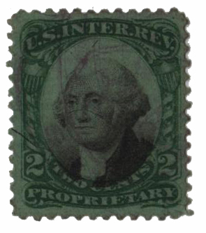 1871-74 2c Proprietary Stamp - George Washington, green & black, green paper