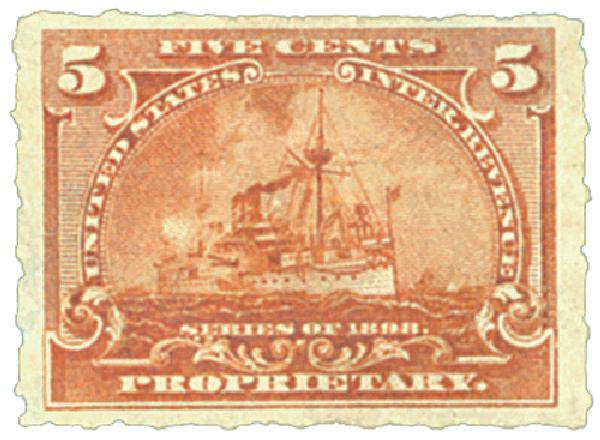 1898 5c brown orange, roulette 5 1/2