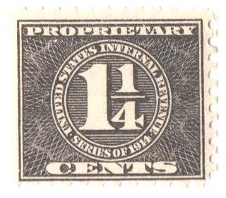 1914 1 1/4c blk, offset, sl wmk, perf 10