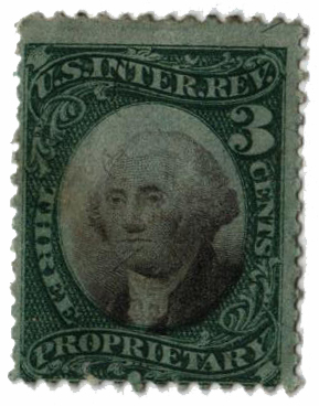 1871-74 3c Proprietary Stamp - George Washington, green & black, violet paper