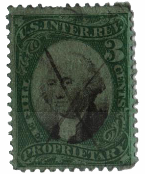1871-74 3c Proprietary Stamp - George Washington, green & black, green paper