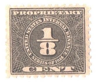 1914 1/8c blk, offset, dl wmk, perf 10