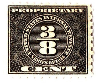1914 3/8c blk, offset, dl wmk, perf 10