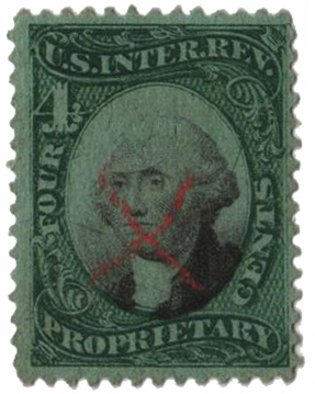 1871-74 4c grn, blk, green paper