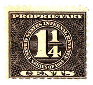 1914 11/4c blk, offset, dl wmk, perf 10