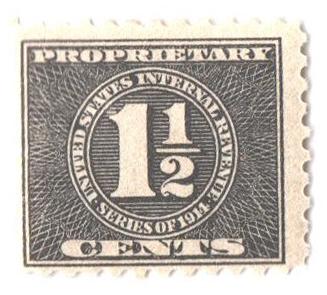 1914 11/2c blk, offset, dl wmk, perf 10