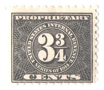 1914 33/4c, blk, offset,dl wmk, perf 10