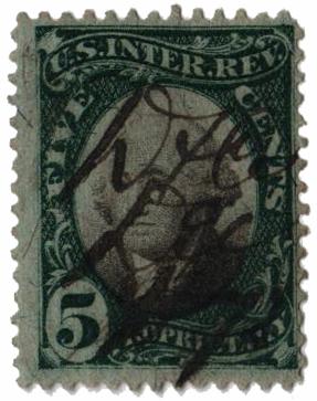 1871-74 5c grn, blk, violet paper