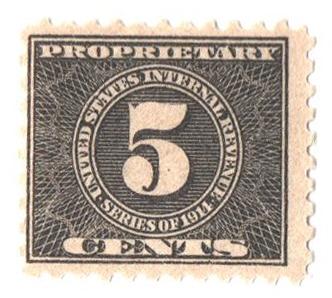 1914 5c, blk, offset, dl wmk, perf 10