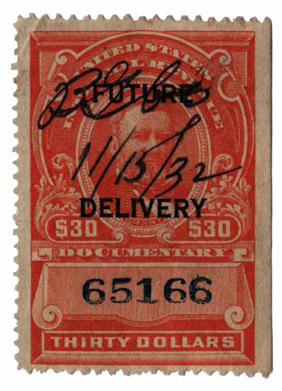 1918-34 $30 ver, numerials in blue, type