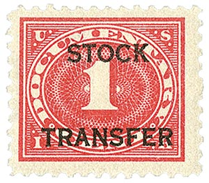1918-22 1c Stock Transfer Stamp, carmine rose, horizontal overprint, perf 11