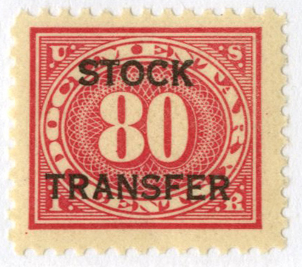 1918-22 80c Stock Transfer Stamp, carmine rose, horizontal overprint, perf 11
