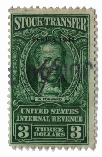 1941 $3 Stock Transfer Stamp, bright green, watermark, perf 11