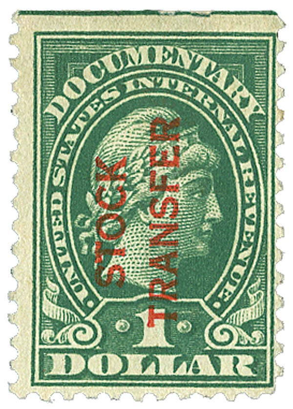 1918-22 $1 Stock Transfer Stamp, green, (R) vertical overprint, perf 11