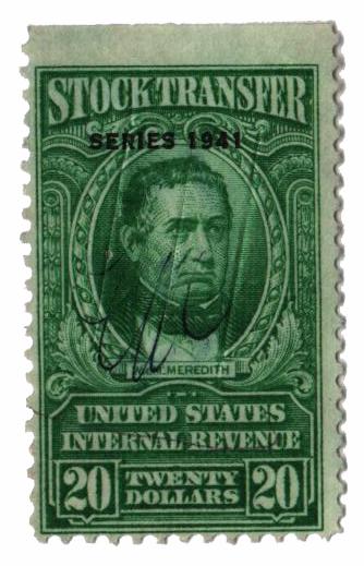 1941 $20 Stock Transfer Stamp, bright green, watermark, perf 11