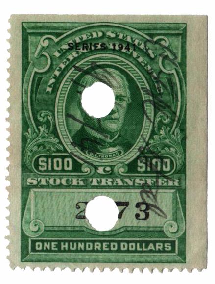 1941 $100 Stock Transfer Stamp, bright green, watermark, perf 12