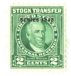 1942 2c Stock Transfer Stamp, bright green, watermark, perf 11