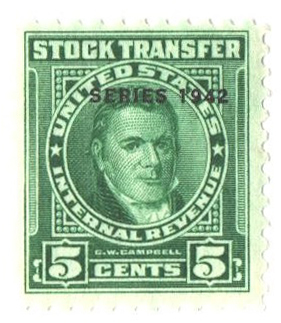 1942 5c Stock Transfer Stamp, bright green, watermark, perf 11