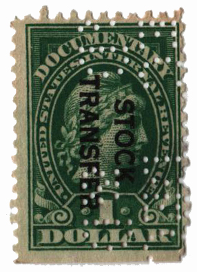 1918-22 $1 Stock Transfer Stamp, green, overprint reading down