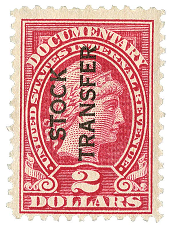 1918-22 $2 Stock Transfer Stamp, rose, vertical overprint, perf 11