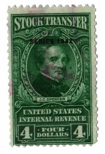 1942 $4 Stock Transfer Stamp, bright green, watermark, perf 11