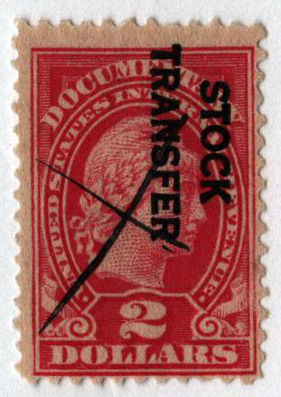 1918-22 $2 Stock Transfer Stamp, rose, overprint reading down