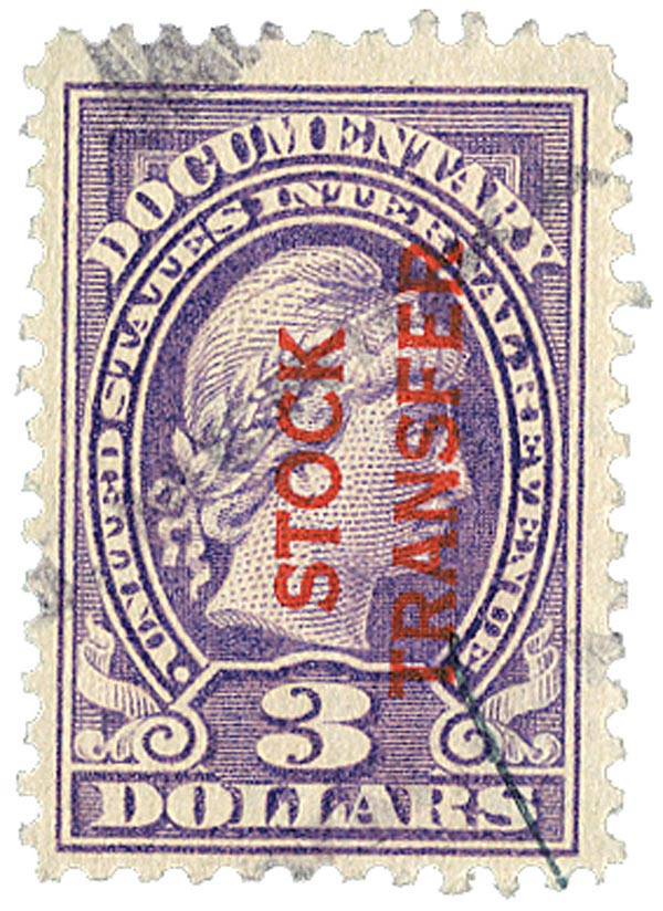 1918-22 $3 Stock Transfer Stamp, violet, vertical overprint, perf 11
