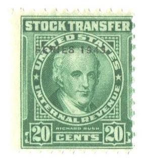 1943 20c Stock Transfer Stamp, bright green, watermark, perf 11