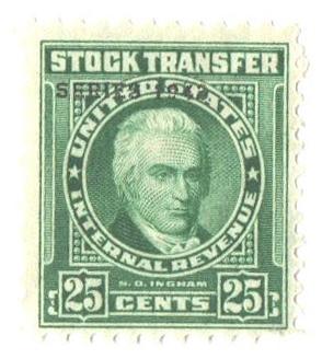 1943 25c Stock Transfer Stamp, bright green, watermark, perf 11