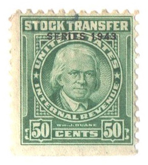 1943 50c Stock Transfer Stamp, bright green, watermark, perf 11