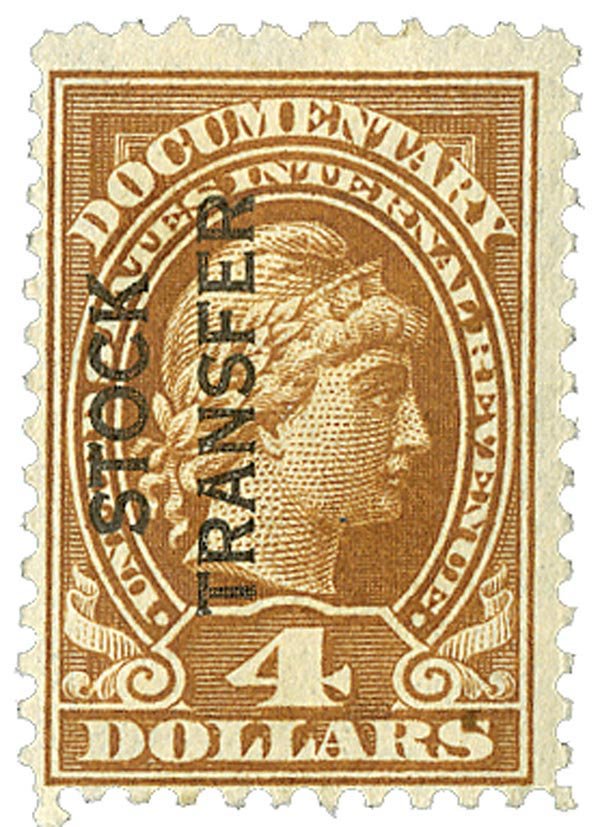 1918-22 $4 Stock Transfer Stamp, yellow brown, vertical overprint, perf 11