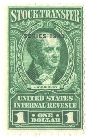 1943 $1 Stock Transfer Stamp, bright green, watermark, perf 11
