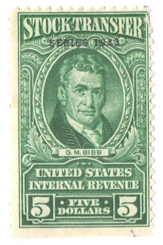 1943 $5 Stock Transfer Stamp, bright green, watermark, perf 11
