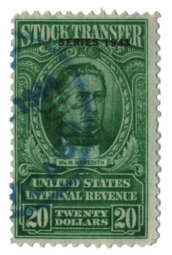 1943 $20 Stock Transfer Stamp, bright green, watermark, perf 11