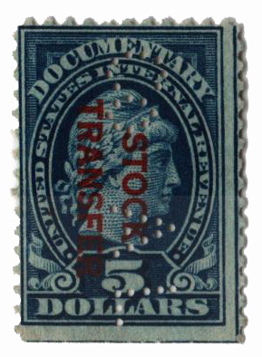 1918-22 $5 Stock Transfer Stamp, dark blue, Overprint reading