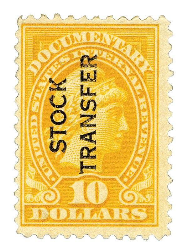 1918-22 $10 Stock Transfer Stamp, orange, vertical overprint, perf 11