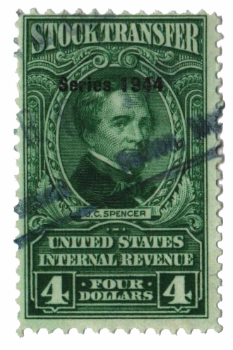 1944 $4 Stock Transfer Stamp, bright green, watermark, perf 11