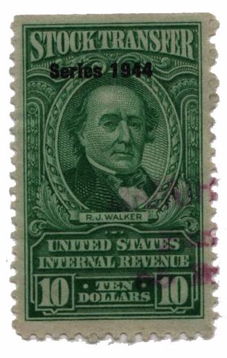 1944 $10 Stock Transfer Stamp, bright green, watermark, perf 11