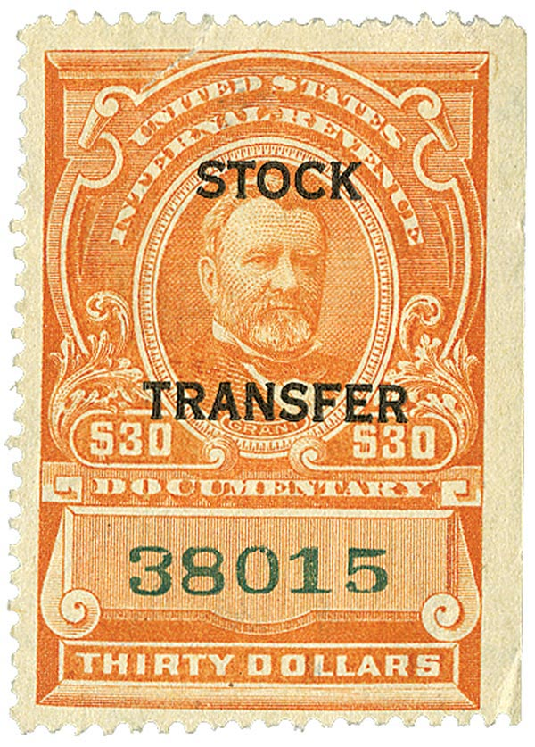 1918 $30 Stock Transfer Stamp, vermilionilion, horizontal overprint, perf 12