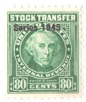 1945 80c Stock Transfer Stamp, bright green, watermark, perf 11