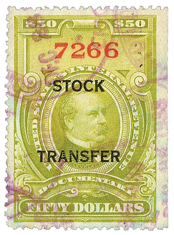 1918 $50 Stock Transfer Stamp, olive green, horizontal overprint, perf 12