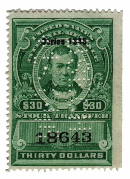 1945 $30 Stock Transfer Stamp, bright green, watermark, perf 12