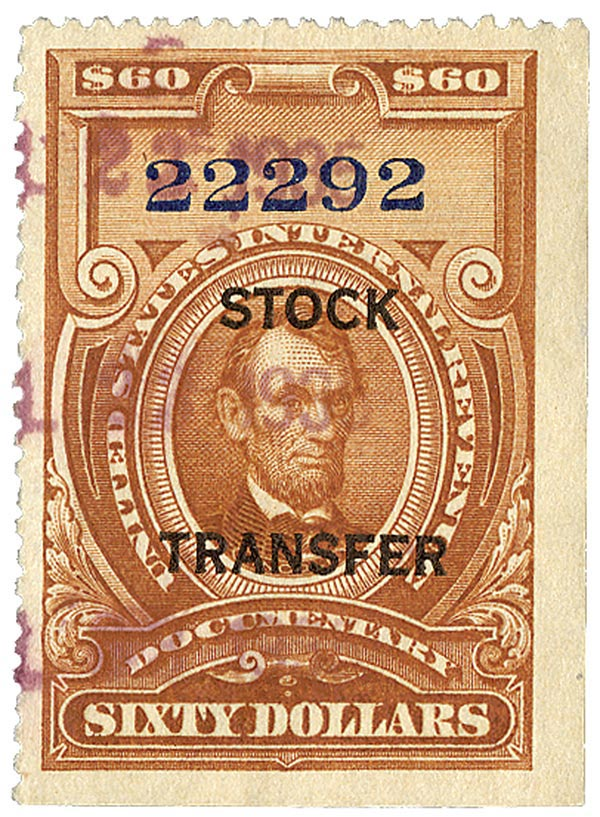 1918 $60 Stock Transfer Stamp, brown, horizontal overprint, perf 12