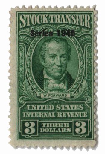 1946 $3 Stock Transfer Stamp, bright green, watermark, perf 11