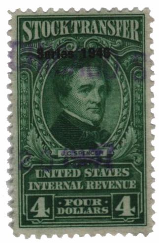 1946 $4 Stock Transfer Stamp, bright green, watermark, perf 11