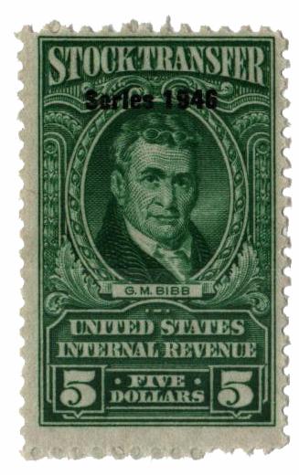 1946 $5 Stock Transfer Stamp, bright green, watermark, perf 11