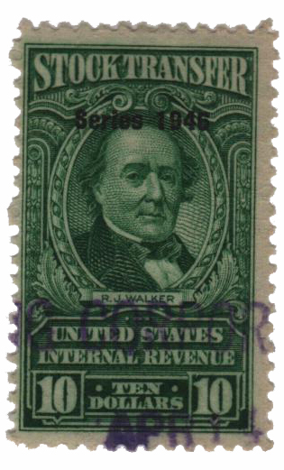 1946 $10 Stock Transfer Stamp, bright green, watermark, perf 11