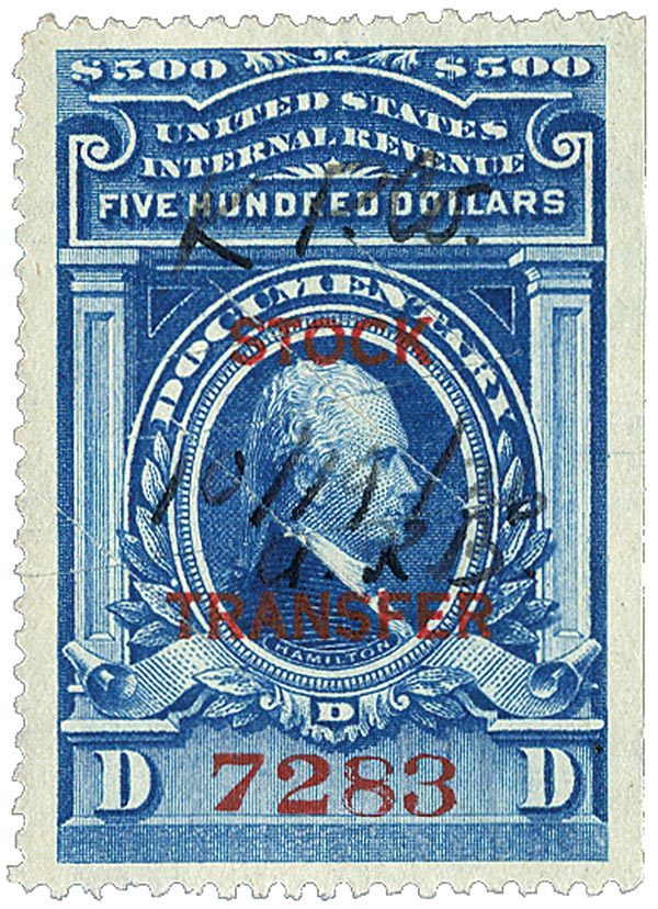 1918 $500 Stock Transfer Stamp, blue, horizontal overprint, perf 12