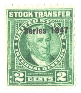 1947 2c Stock Transfer Stamp, bright green, watermark, perf 11